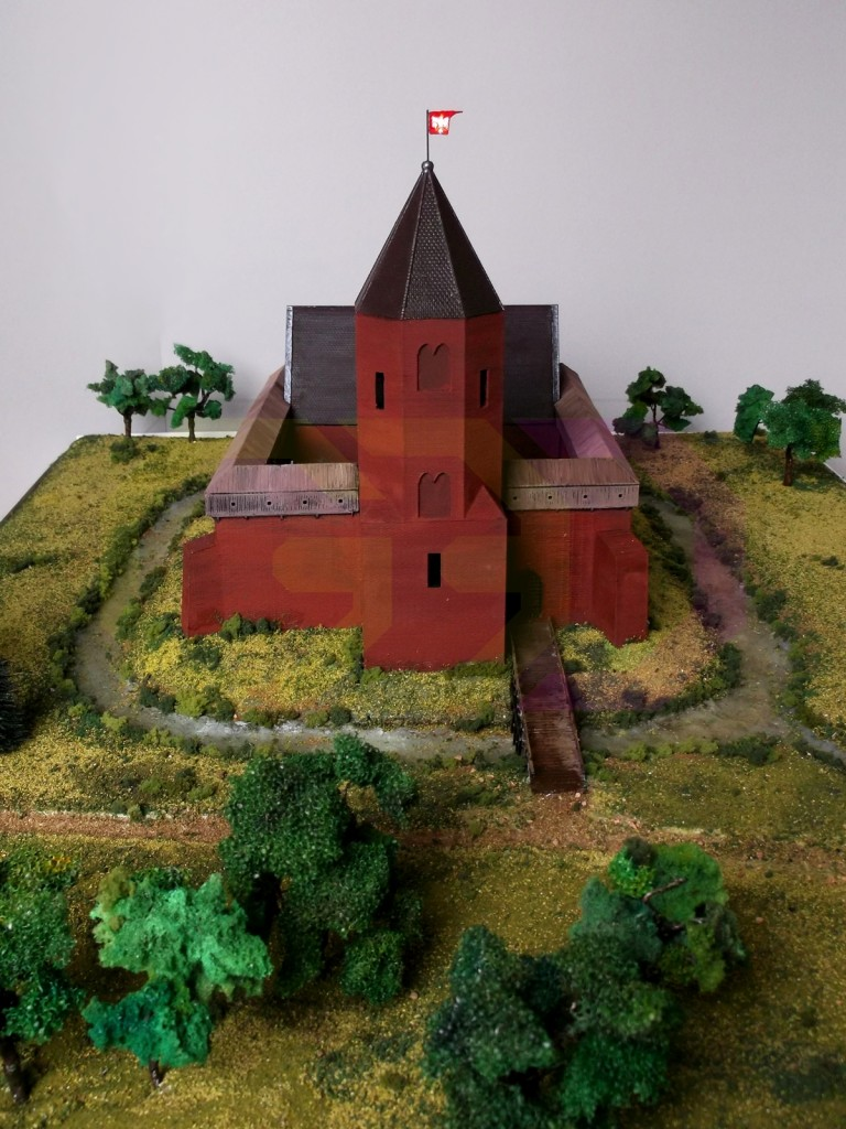 wydruk 3D - makieta, rekonstrukcja zamku w Ostrzeszowie