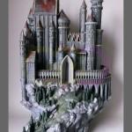 wydruk 3D - makieta zamku, ręcznie malowana